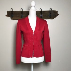 Carlisle Cardigan Silk Spandex Blend Classic Red